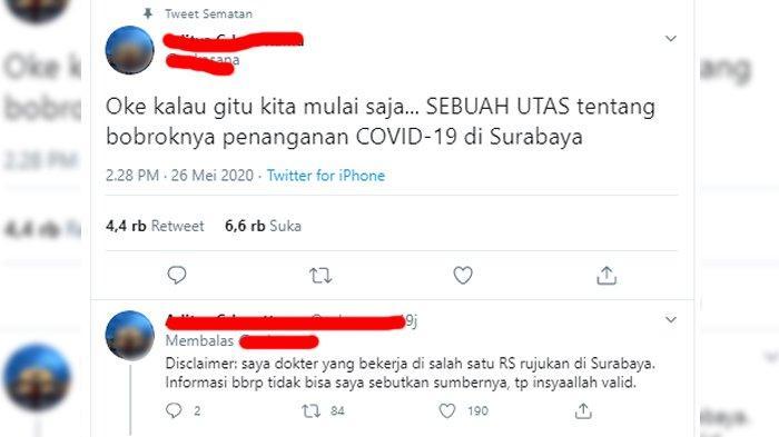 Viral Cuitan Dokter Soal Bobroknya Penanganan Corona di Surabaya, Pemkot Angkat Bicara, Ini Faktanya
